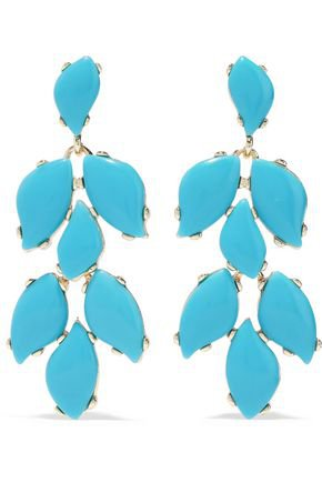 22-karat gold-plated stone clip earrings | KENNETH JAY LANE | Sale up to 70% off | THE OUTNET