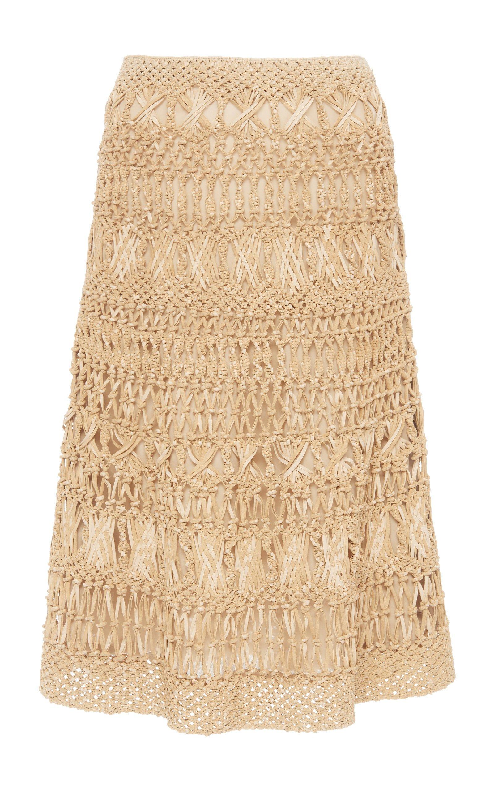 Ralph Lauren Bryant Crochet-Knit Leather Skirt