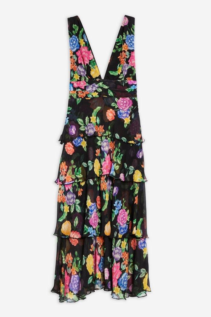 Black Floral Plunge Pinafore Dress | Topshop Black