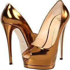 Giuseppe Zanotti Gold High Heeled Stiletto Pumps
