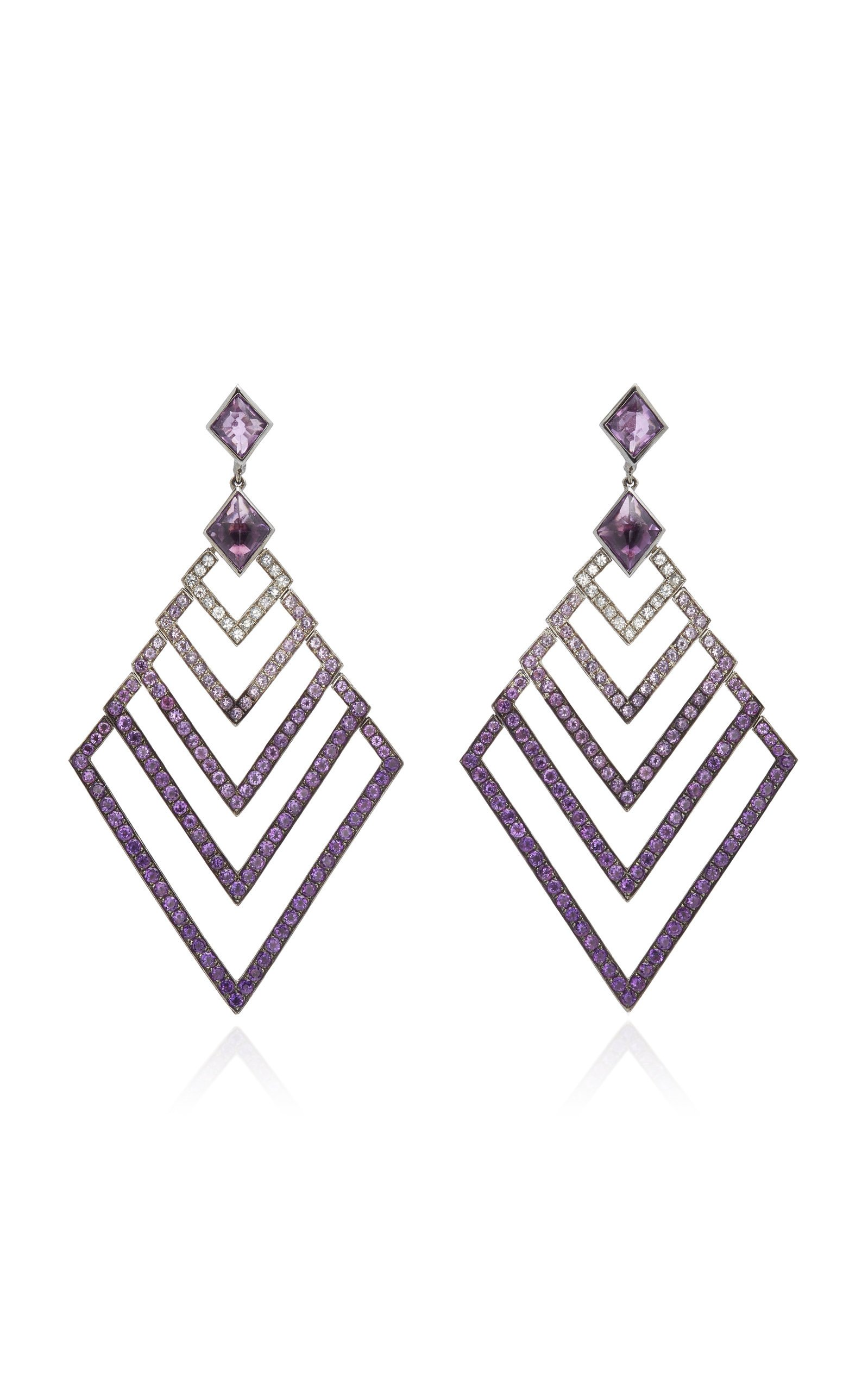 Black Rhodium-Plated Silver, Amethyst And Sapphire Earrings by Lynn Ban Jewelry | Moda Operandi