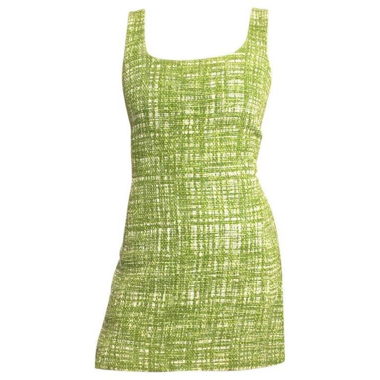 Prada Lime Green Tweed Sleeveless Dress For Sale at 1stdibs