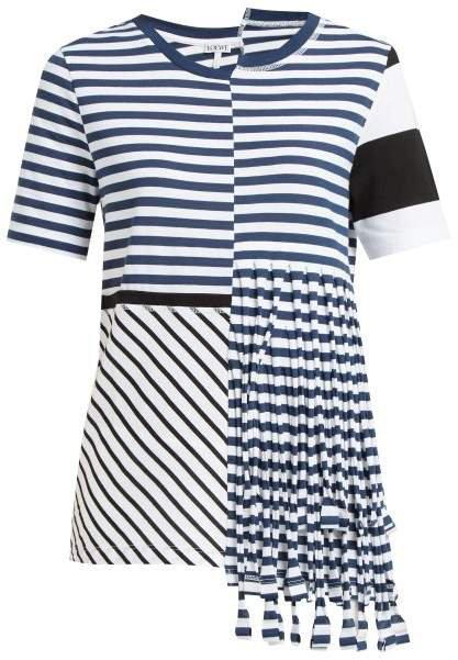 Asymmetric Striped Jersey T Shirt - Womens - Navy White