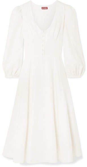 Birdie Linen-blend Midi Dress - Ivory