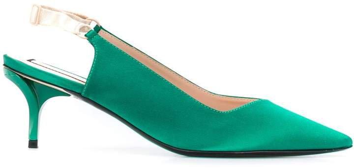 slingback mid heel pumps