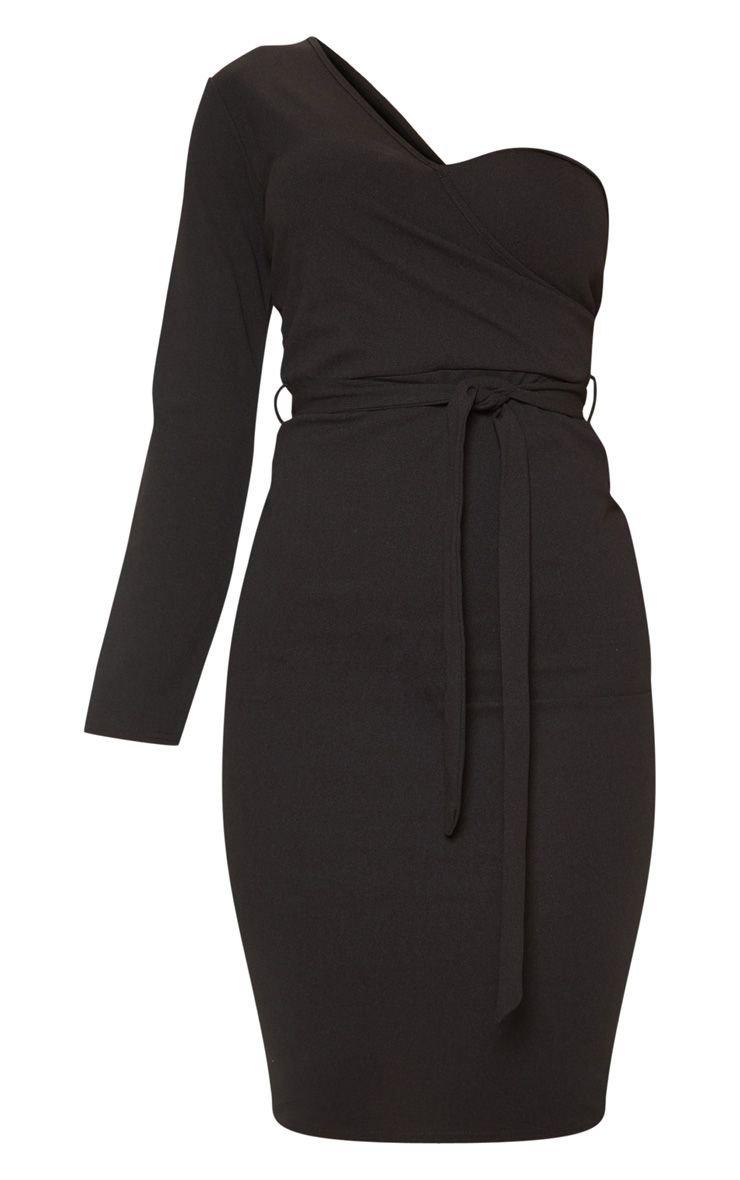 Black One Shoulder Tie Waist Midi Dress | PrettyLittleThing USA