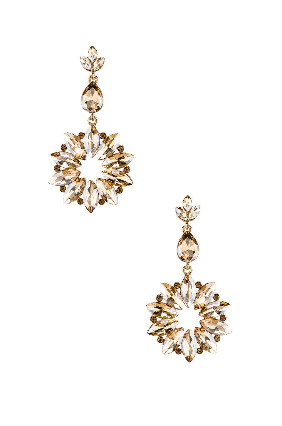 Sunburst Crystal Drop Champagne Earring
