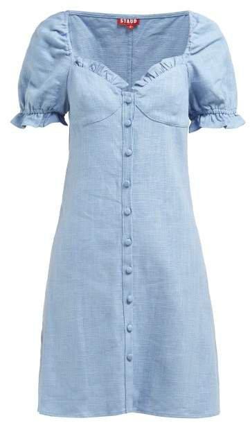 Sur Linen Blend Mini Dress - Womens - Light Blue