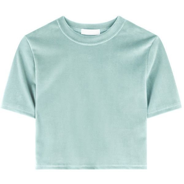 Mint-Green Velvet Cropped T-Shirt