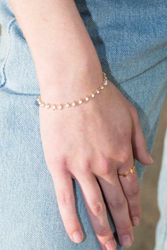 Gold White Bead Bracelet - Bracelets - Jewelry - Accessories