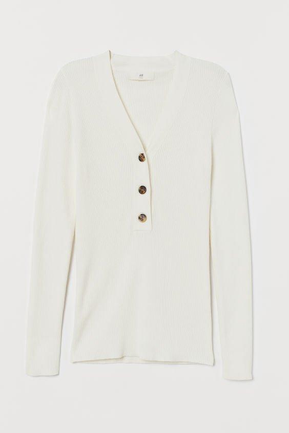 Ribbed Sweater - White - Ladies | H&M US