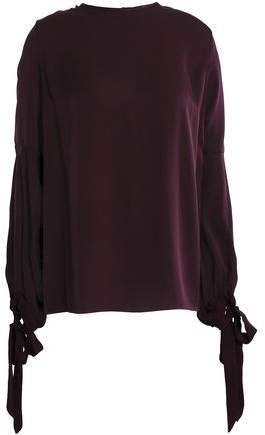 Juliette Bow-detailed Stretch-silk Top