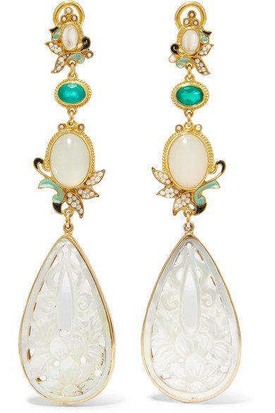 Percossi Papi | Gold-plated and enamel multi-stone earrings | NET-A-PORTER.COM