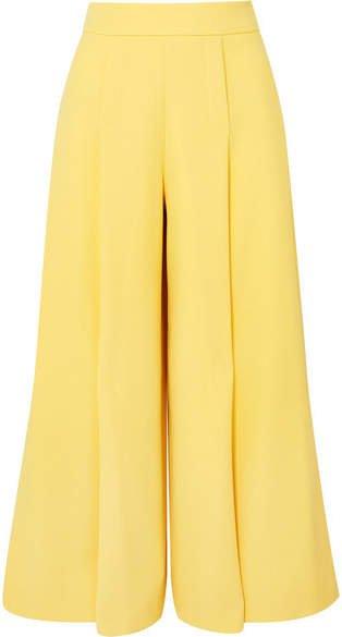 Pleated Wool-crepe Wide-leg Pants - Yellow