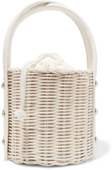 Wicker Wings - Quan Rattan And Leather Bucket Bag - White