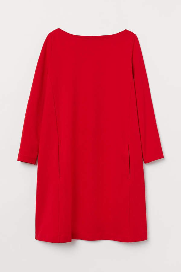 Boat-neck Jersey Dress - Red