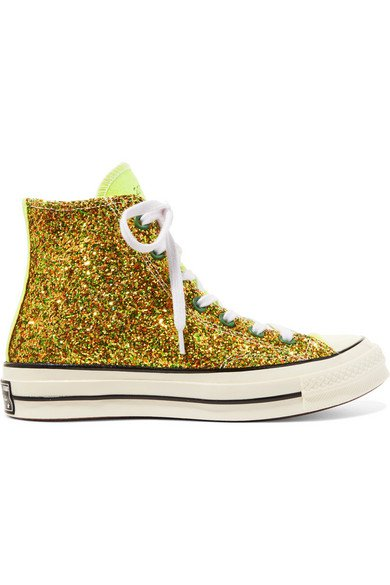 Converse | + JW Anderson All Star 70 glittered canvas high-top sneakers | NET-A-PORTER.COM