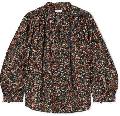 DÔEN - Rose Gathered Floral-print Cotton-poplin Blouse - Black