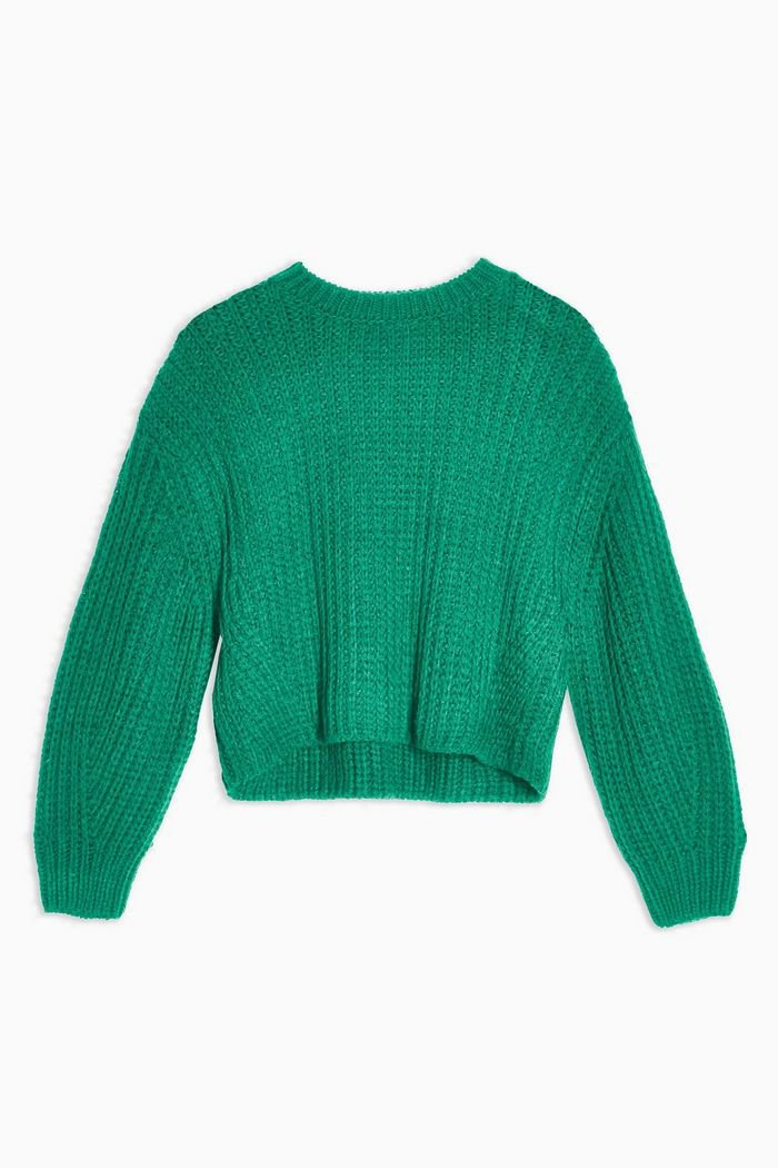 Green Knitted Cropped Sweater Jumper With Wool | Topshop