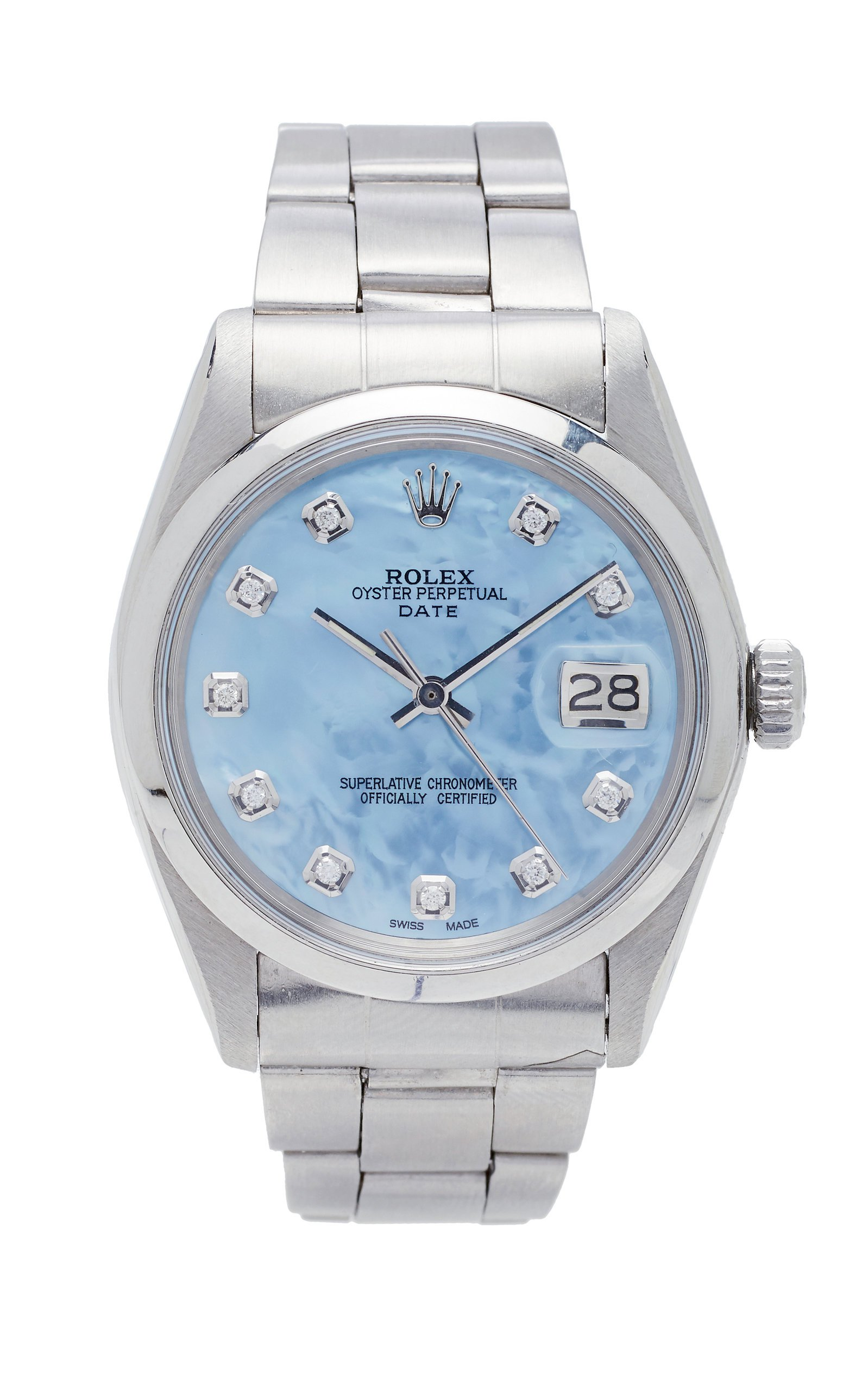 Vintage Watches Rolex Date 34mm Ice Blue Pearlized Diamond Dial