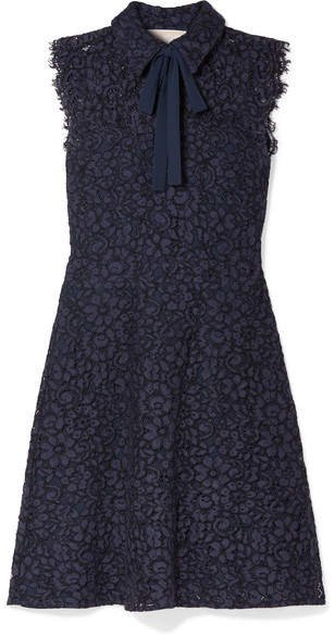 Pussy-bow Corded Lace Dress - Storm blue