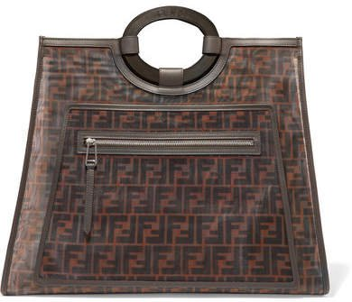 Runaway Large Leather-trimmed Printed Mesh Tote - Dark brown