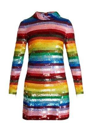 Rainbow-Striped Sequin-Embellished Silk Mini Dress