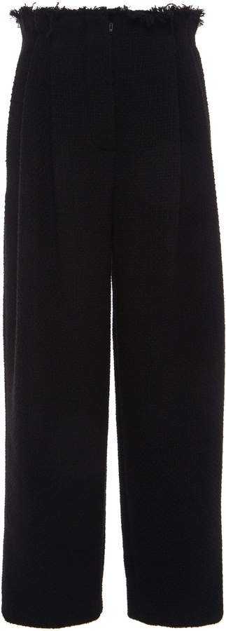 Alberta Ferretti Pleated Tweed Wide-Leg Pants