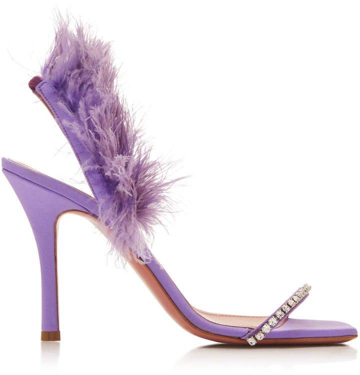 Muaddi Adwoa Feather And Crystal-Embellished Satin Sandals