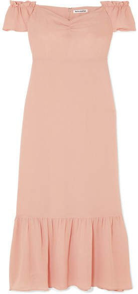 Butterfly Off-the-shoulder Tiered Crepe Dress - Blush