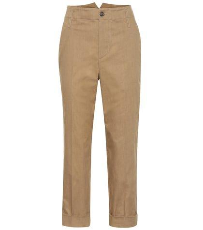High-waisted cotton pants