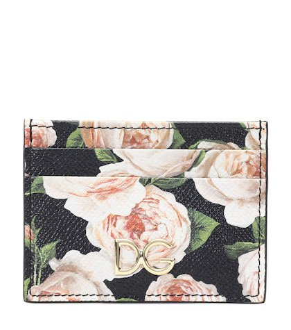 Floral leather cardholder