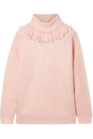 Miu Miu | Tasseled mohair-blend turtleneck sweater | NET-A-PORTER.COM