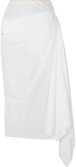 Asymmetric Draped Cotton-poplin Skirt - White