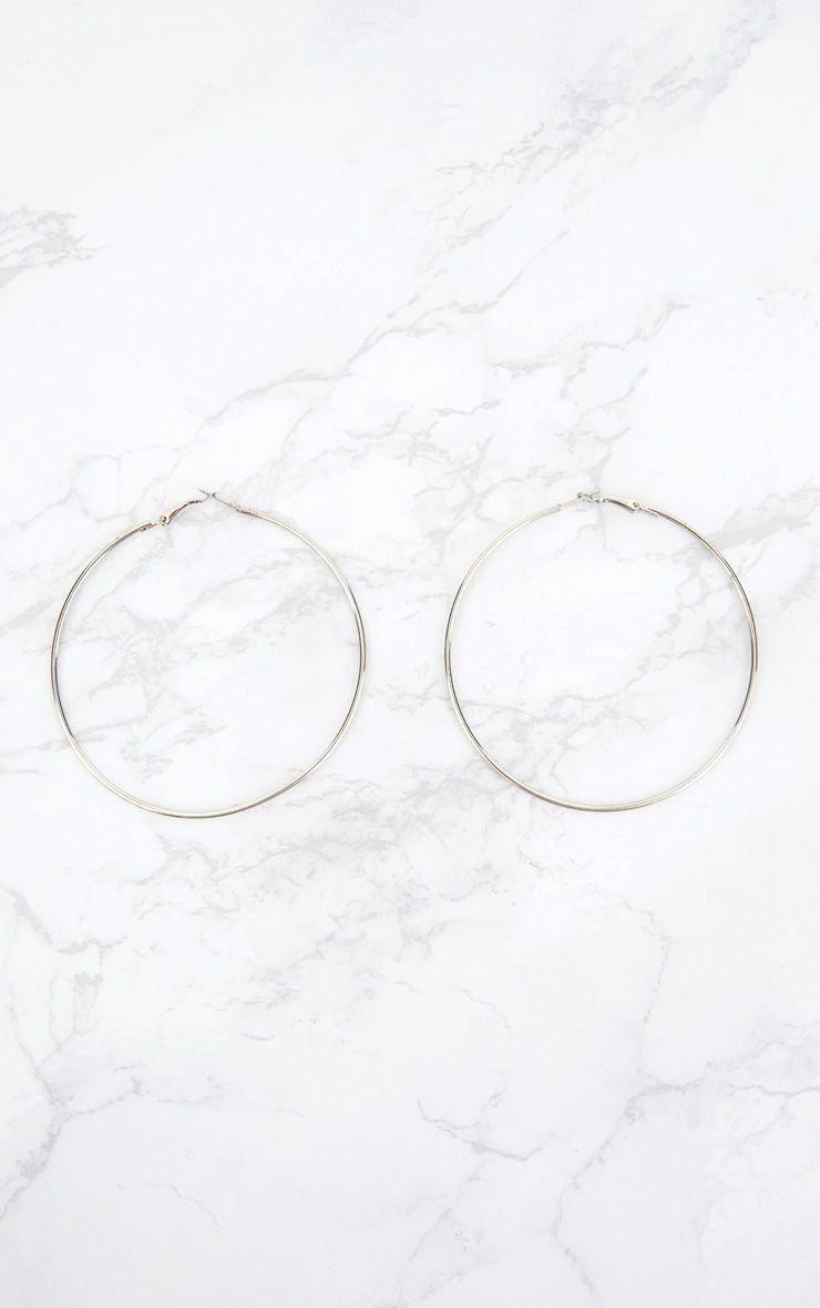 Silver 80mm Hoop Earrings | Accessories | PrettyLittleThing