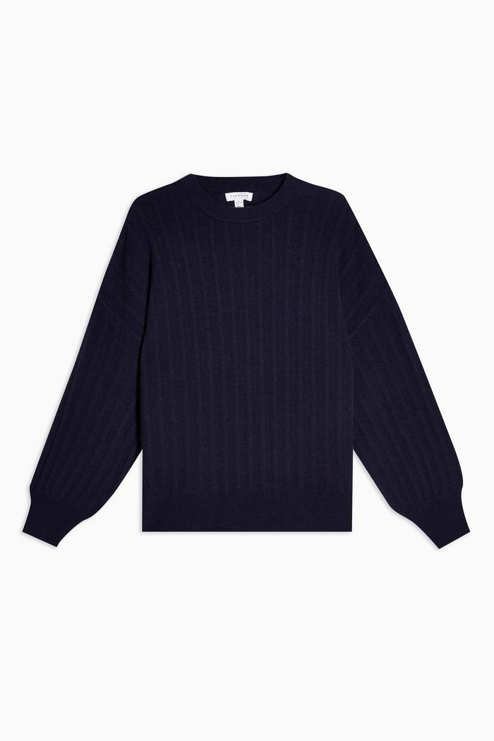 Navy Knitted Jumper With Cashmere   Topshop