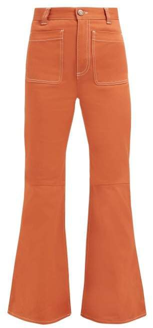 Topstitched Flared Jeans - Womens - Light Brown