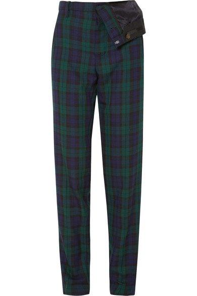 Y/PROJECT   Asymmetric plaid twill straight-leg pants   NET-A-PORTER.COM