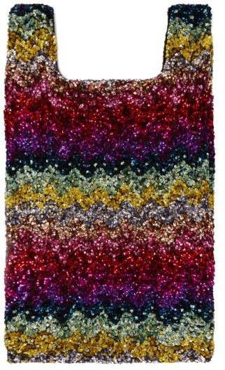 Rainbow Wave Sequin Embellished Cotton Tote - Womens - Multi