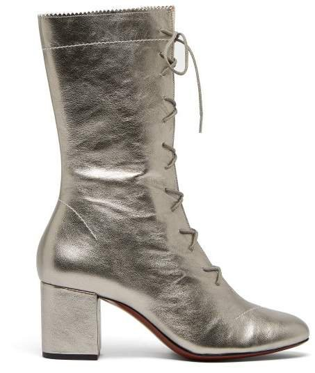 Forever Metallic Lace Up Leather Boots - Womens - Silver