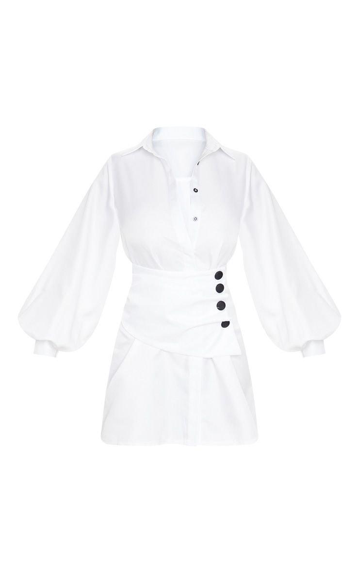 White Button Waist Detail Shirt Dress | PrettyLittleThing