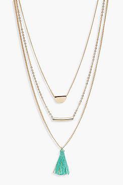 Amy Layered Tassel & Bar Necklace