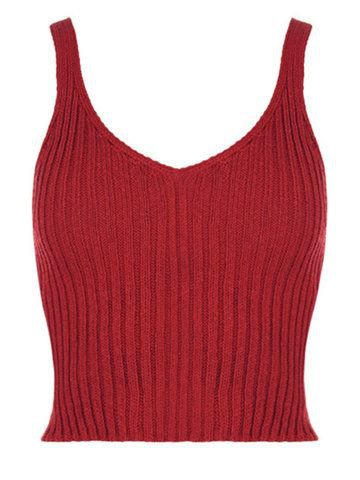 Women Stretch Sleeveless V Neck Knitted Cropped Short Tank Top