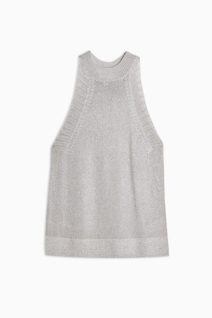 Knitted Metallic Tank Top | Topshop silver