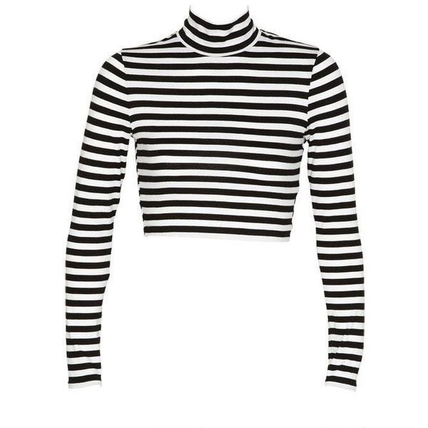 Long sleeve stripe crop top turtleneck