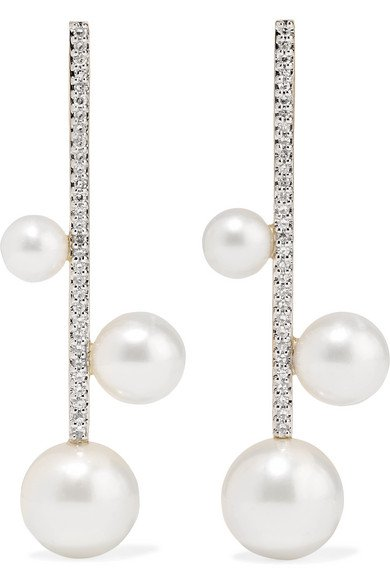 Mateo | 14-karat gold, pearl and diamond earrings | NET-A-PORTER.COM