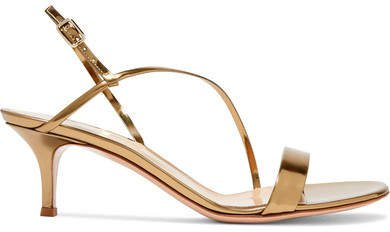 55 Metallic Leather Slingback Sandals - Gold