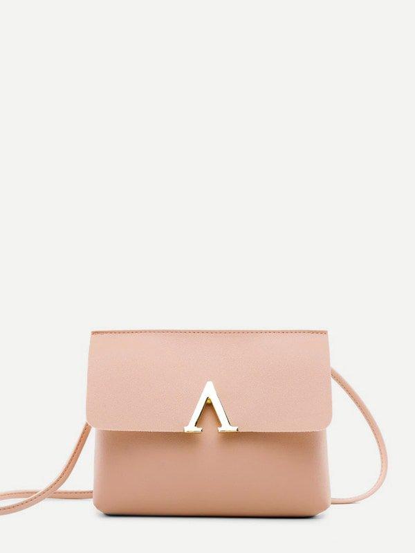 V Cut Flap Crossbody Bag