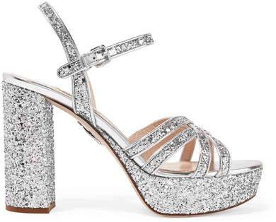 Glittered Leather Platform Sandals - Silver