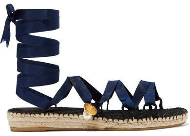 The Lion And The Baroque Embellished Grosgrain Espadrilles - Navy